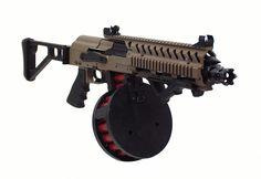 Short Saiga Folding Shotgun in Magpul Dark Earth with drum magazine Military Weapons, Weapons Guns, Guns And Ammo, Glock Guns, Tactical Shotgun, Tactical Gear, Rifles, Firearms, Shotguns