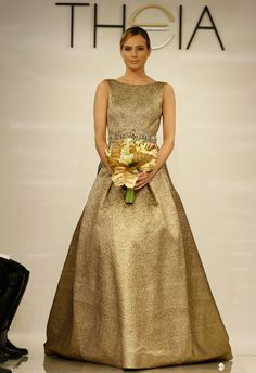 We can't take our eyes off this gold A-line gown from Theia's Spring 2014 collection.