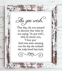 AS YOU WISH - Princess Bride Movie Quote 8x10 Typography Wall Art Poster PRINT