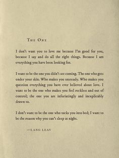 The One ~ Lang Leav