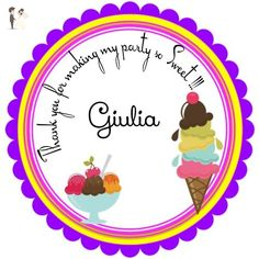 """40 Round Labels 2"""" Personalized Neapolitan Ice Cream Cone Stickers, Princess Custom Hangtags, Party Favors Labels, Cupcake Toppers, Choice Of Size - Cake and cupcake toppers (*Amazon Partner-Link)"""