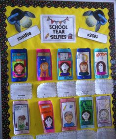 """School Year Selfie"" bulletin board idea. Students can write about a favorite moment from their school year and then draw a picture of themselves in that moment."