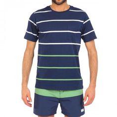 BLUE COTTON T-SHIRT WITH CHEST POCKET AND MULTICOLOR STRIPES - Solid blue scoop neck cotton T-shirt with contrast white and green stripes and chest pocket.  #mrbeachwear #stripes #summer #fashion #men #style #boardshort #sun #onlineshop #2014 #tshirt