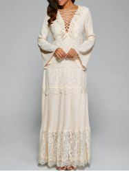 SHARE & Get it FREE | Lace Up Bell Sleeve Maxi DressFor Fashion Lovers only:80,000+ Items • New Arrivals Daily • Affordable Casual to Chic for Every Occasion Join Sammydress: Get YOUR $50 NOW!