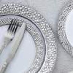 "Leilaniwholesale 10 pcs 10"" wide White Round Salad Plates with Hammered Silver Trim. The style and charm of these plates will provide some eye-catching elegance at your next gathering!"