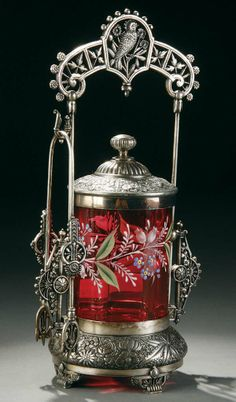 Cranberry Glass Pickle Castor with Silverplate Holder