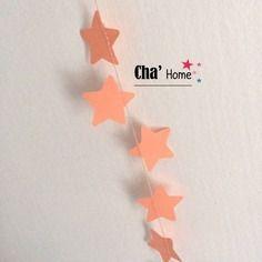 Guirlande étoiles en papier saumon corail - décoration chambre petite fille- décoration baptème mariage anniversaire  -