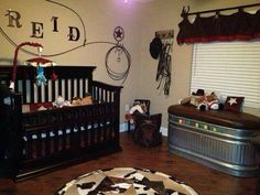 Rodeo baby nursery ... in love with the trough idea to use as storage and then when they are older it can be used for toys