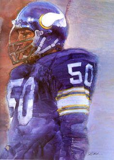 Jeff Siemon, Minnesota Vikings Middle Linebacker. Portrait by David Grove 1979.