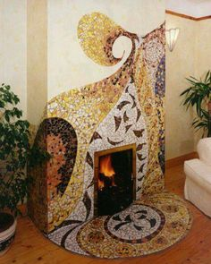 Mosaico mosaic fireplace and wall. Mosaic Tile Fireplace, Mosaic Wall, Mosaic Glass, Mosaic Tiles, Stained Glass, Fireplace Art, Fireplaces, Mosaic Crafts, Mosaic Projects