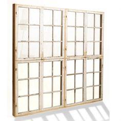 Skillevæg af gamle vinduesrammer - i stedet for skydedør i stuen