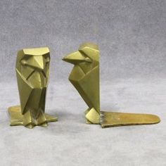 Pair Art Deco Brass Raven Bookends, Signed