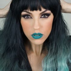 rocking my hope lipstick by mulaccosmetics hair by geishawigs in teal ombre