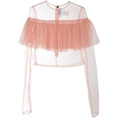 Msgm  Ruffled Tulle Sheer Top ($295) ❤ liked on Polyvore featuring tops, nude, see through tops, flutter-sleeve top, ruffle top, keyhole top and long sleeve embellished top