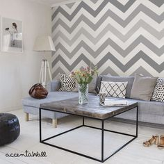 Chevron Cool Grey Peel & Stick Fabric Wallpaper door AccentuWall