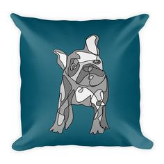 Frenchie, may cause cuddling. Pillow insert included.  18x18 inches 80% polyester / 20% cotton fleece Soft, durable and suitable for fine print Individually cut and sewn in LA Double sided print Concealed zipper Machine washable Pillow insert included (handwash only) Resilient polyester filling retains shape