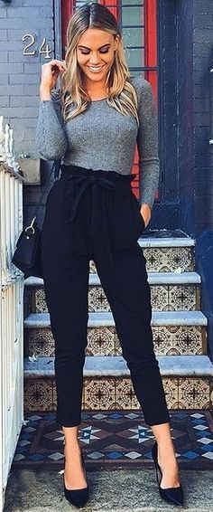 Grey Ribbed Knit + Black Pants @roressclothes closet ideas #women fashion outfit #clothing style apparel