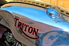 Flavio Bruni's Triton Thruxton (via RocketGarage) Cafe Racer Magazine, Scrambler Custom, Vintage Cafe Racer, Go Ride, Motorcycle Tank, Motorcycle Accessories, Bobber, Motorbikes, Bikers