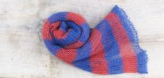 Striped mohair shawl blue red striped mohair scarf by Renavere, $55.00
