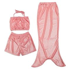 Hot Girls Mermaid Tail Swimsuit Swimming Shorts Pants Set