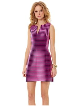Brielle Fit and Flare dress - $188  http://www.seasonaloutfitters.net/lilly-pulitzer-brielle-sleeveless-fit-and-flare-dress-true-navy/  #lillypulitzer #fall #pink