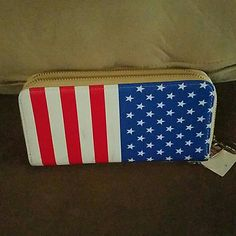 Flag double zip wallet Never used it. Wristlet or wallet Bags Wallets