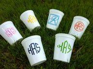 preppy monogrammed stadium cups - gift idea.