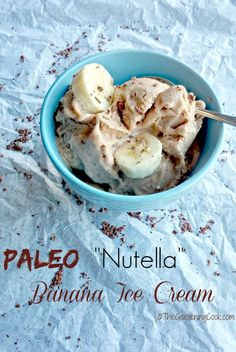 """This Paleo """"Nutella"""" Banana Ice Cream is rich and creamy and my substitutes means that you can eat it on a Paleo diet without the guilt. http://thegardeningcook.com"""