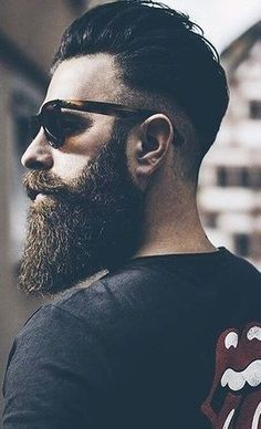 Trendy Long Beard And Hairstyle Combinations For Men, Bathroom Ideas For Men Beard Styles Faded Beard Styles, Long Beard Styles, Beard Styles For Men, Hair And Beard Styles, Hair Styles, Beard Fade, Beard Look, Men Beard, Man With Beard