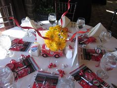 Firefighter Baby Shower Theme | The table settings... She made the adorable centerpieces, game ...