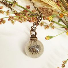 resin jewelry necklace vial -real plant from MissMayoShop on Etsy