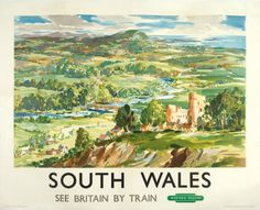 Johnston. South Wales. See Britain by Train.  1026 x 1270 mm.  Original lithograph in colours, published by the British Railways (Western Region), printed by Jordison and Co., London and Middlesbrough, c.1950. #railway #travel