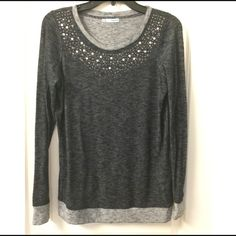 Embellished top maurices black and gray rhinestone collar shirt NWOT size medium lightweight no swaps please Maurices Tops