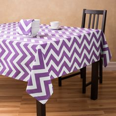 This is the one that will fit your table!!! 60 x 126 in. Purple & White Chevron Rectangular Cotton Tablecloth $14.50