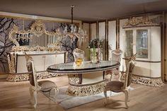 Dining Room Furniture Sets, Dining Room Sets, Dining Table Chairs, Furniture Styles, Custom Furniture, Italian Style, Classic Italian, Luxury Dining Room, Luxury Sofa