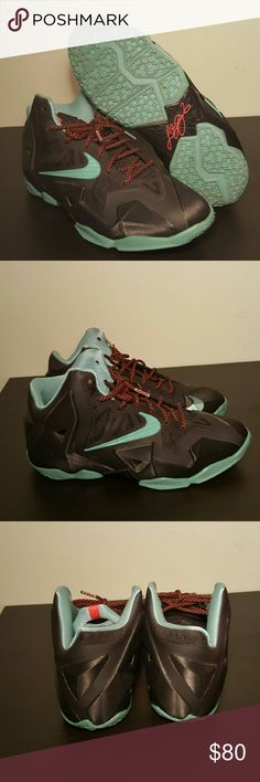 Nike LeBron James XI 621712-004 black diffused mint green crimson Nike Shoes Sneakers