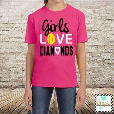 256536cdd3c Girls Love Diamonds Softball Shirt Softball Team by JandAApparel Softball  Shirts