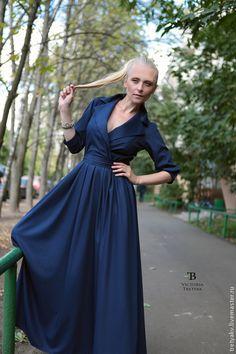Платье в пол/платье длинное/платье - синий,однотонный,платье,Платье нарядное