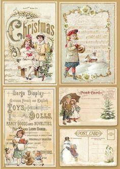 "Motiv-Strohseide ""Weihnachtspostkarten"" | VBS Hobby Bastelshop"