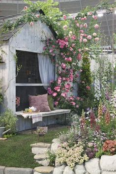 International Rose and Gardening Show Garden Nook, Garden Bar, Love Garden, Dream Garden, Brick Garden, Rooftop Garden, Garden Table, Garden Planters, French Cottage Garden