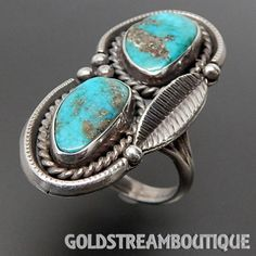 VINTAGE NAVAJO 925 SILVER TURQUOISE TWISTED ROPE FEATHER ELONGATED RING SIZE 8