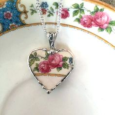 Broken china jewelry heart pendant necklace antique pink roses made from a broken plate