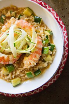 Shrimp and Zucchini Risotto - Heather Christo Fish Recipes, Seafood Recipes, Cooking Recipes, Quinoa, Allergy Free Recipes, Healthy Recipes, Couscous, Good Food, Risotto