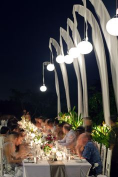 Outdoor Beach Tropical Wedding Lighting Reception Inspiration