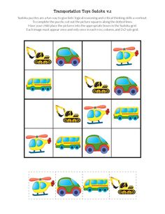 Transportation Toys Sudoku puzzles Instant digital downloads product in PDF format Great resource for stimulating cognitive development and critical thinking skills in young kids Perfect for kids that love cars, trains, boats, dump trucks, and vehicles of all kinds!