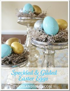 DIY speckled and gilded easter eggs @KD Eustaquio Wilson -Sand & Sisal