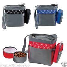 NEW DOG TRAVEL SHOULDER BAG & COLLAPSIBLE FOOD & WATER BOWLS - PET PAW DESIGN