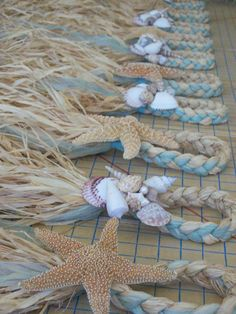 Beach Aisle Decorations Beach Pew Bows Starfish and Raffia Chair Hangers Beach Wedding Pick your Ribbon Destination Wedding Seashells wedding dream Beach Wedding Reception, Beach Wedding Decorations, Nautical Wedding, Diy Wedding, Aisle Decorations, Wedding Ideas, Seashell Decorations, Wedding House, Gothic Wedding