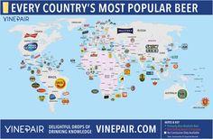 Diese Karte zeigt das beliebteste Bier in jedem Land der Welt
