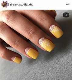 Cute Summer Nail Designs, Cute Summer Nails, Beautiful Nail Designs, Cute Nails, Pretty Nails, Simple Gel Nails, Yellow Nail Art, Yellow Nails Design, Modern Nails